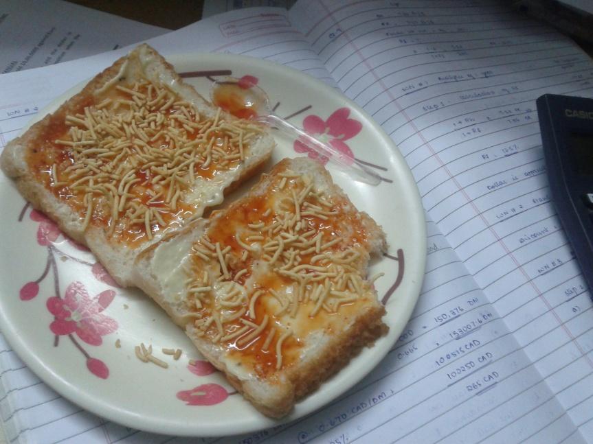 Bread-cheese spread-sauce-aloo bhujia