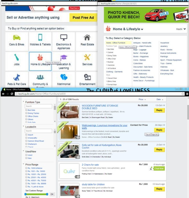 Top left: Homepage Top right: Category choice Bottom: Product listings