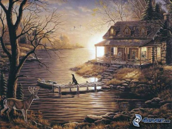 cottage,-river,-doe,-pier,-boat,-dog,-thomas-kinkade-151329