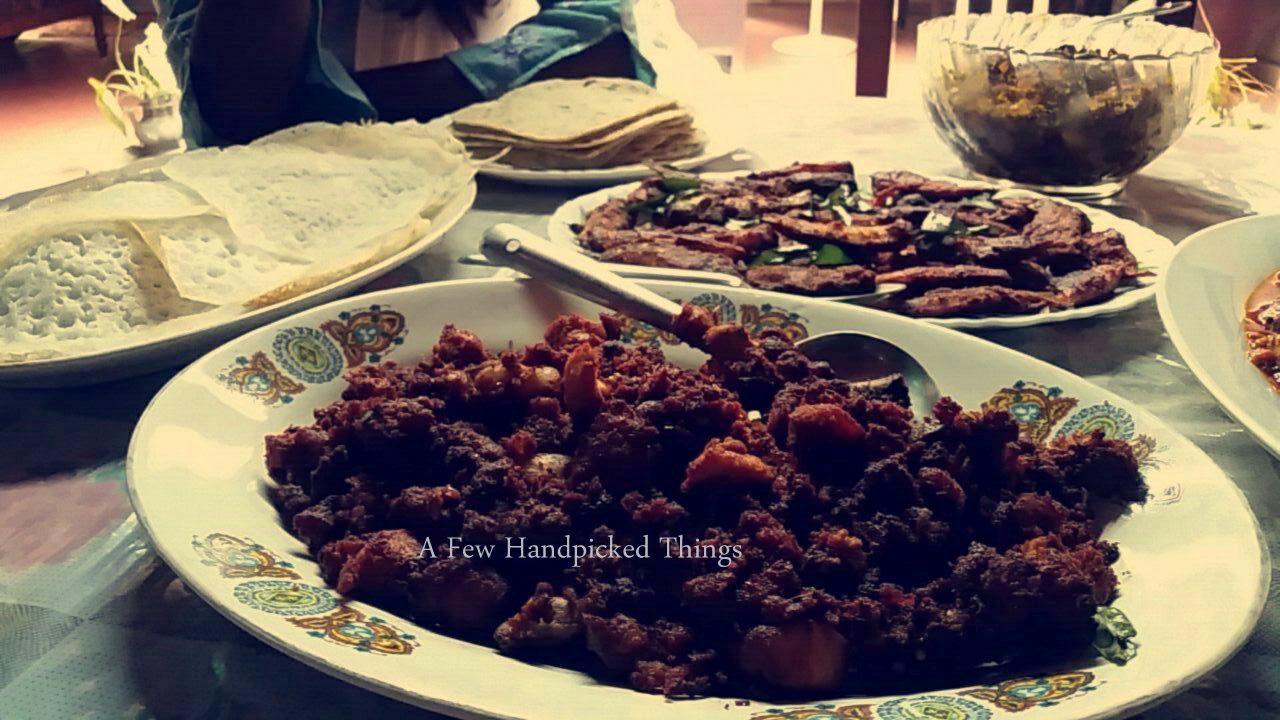 Yummilicious appam, chappati, fish fry, chicken fry, beef