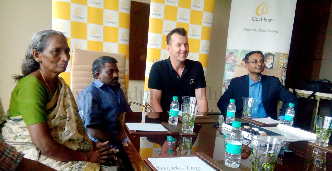 From Left, Ajayan's mother, Ajayan, Brett Lee, Dr. George Kuruvilla at the Cochlear India bloggers' meet at Kochi