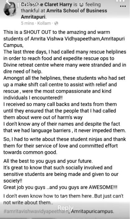A post on how Amrita college students helped immensely during the Kerala Floods