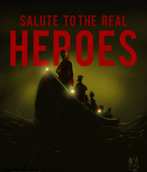 FIshermen - The real Heroes in Kerala Floods Art courtesy - Pavi Sankar
