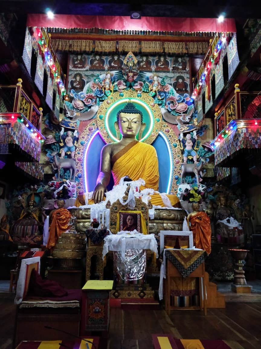The Eight Meter Guilded Statue of Budhha at the TAwang Monastery